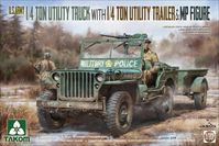 U.S. Army 1/4 ton utility truck with 1/4 ton utility trailer &  MP figure