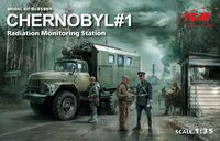 Chernobyl#1. Radiation Monitoring Station (ZiL-131KShM truck & 5 figures & diorama base with background)