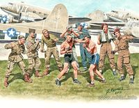 """Friendly boxing match"" British and American paratroopers, World War II Era (9 figures in kit)"