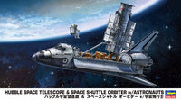 HUBBLE SPACE TELESCOPE & SPACE SHUTTLE ORBITER with ASTRONAUTS