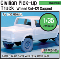 Civilian Pick up Truck Sagged wheel set 2 (for Meng 1/35)