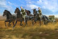 Soviet Regimental Artillery Horse Transport (1943-1945) (limber with 4 horses and 2 figures)