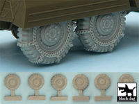 M 8 / M 20 Snowchained wheels set for Tamiya kits, 6 resin parts