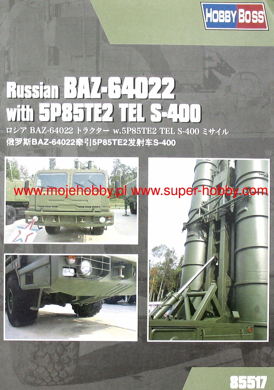 Hobby Boss 1//35 Russian BAZ-64022 with 5P85TE2 TEL S-400 # 85517