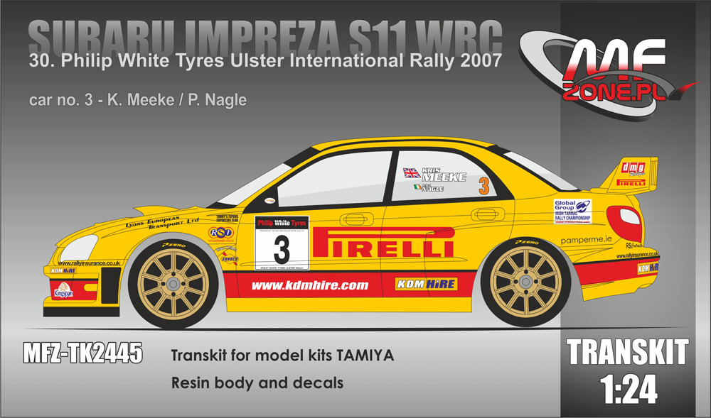 Subaru Impreza S11 WRC Meeke - 30. Philip White Tyres Ulster International Rally 2007 (Resin body, decals) - Image 1