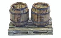 Set of 2 Wooden Barrels + Wooden Pallet - Image 1
