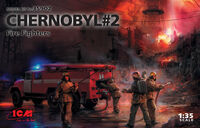 Chernobyl #2. Fire Fighters (AC-40-137A firetruck & 4 figures & diorama base with background)