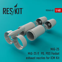 MiG-25 P,  PD, PDS Foxbat exhaust nozzles for ICM Kit - Image 1