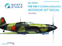 Yak-1 (mid. production) 3D-Printed & coloured Interior on decal paper - Image 1
